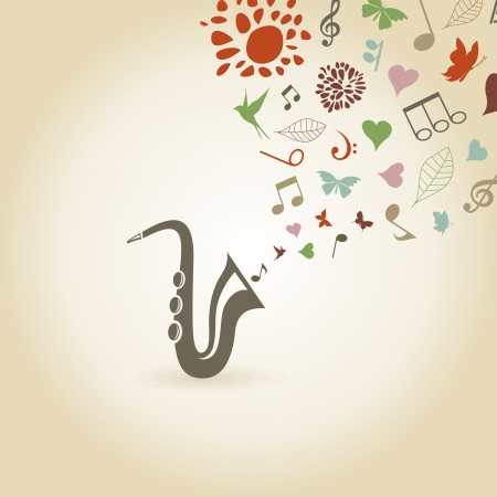 publishes: The saxophone publishes notes and a flower