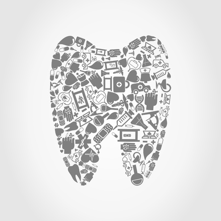bandaging: Tooth made of medicine  A vector illustration