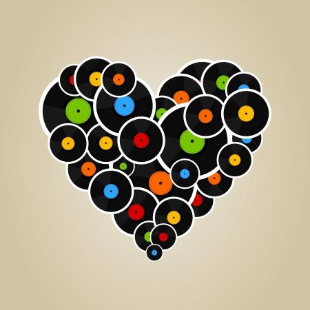 Heart made from Vinyl  A vector illustration Vector