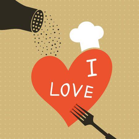 strew: Heart on a plug strew pepper. A vector illustration