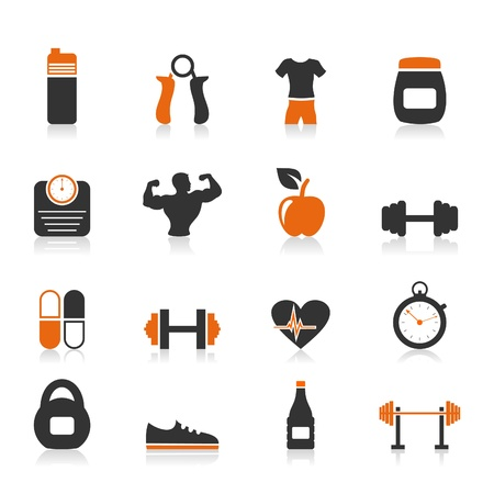 health club: Set of icons fitness sports  A vector illustration