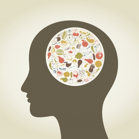 Head of the person made of food  A vector illustration Vector