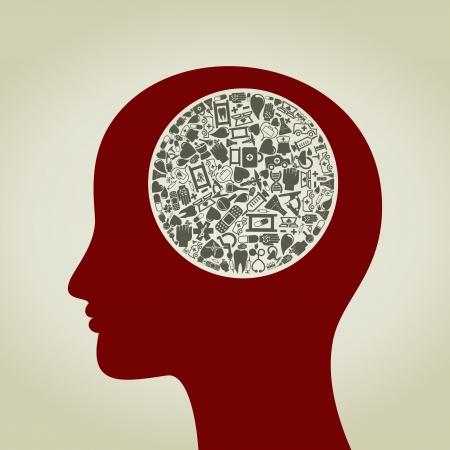 bandaging: Head made of medicine subjects  A vector illustration Illustration