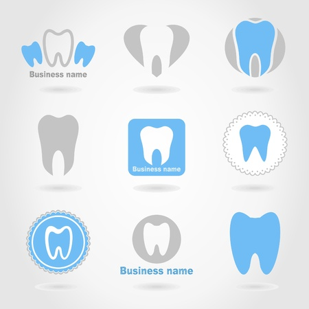 tooth icon: Set of icons of a teeth  A vector illustration