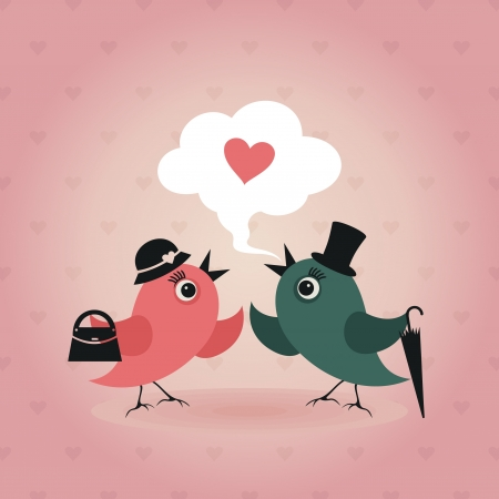birds scenery: Birds love each other illustration