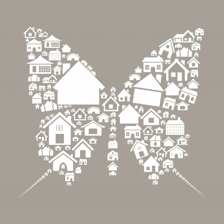 The butterfly made of houses illustration Vector