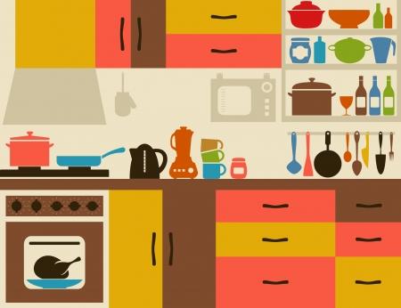 kuchnia: Ware na ilustracji kuchni