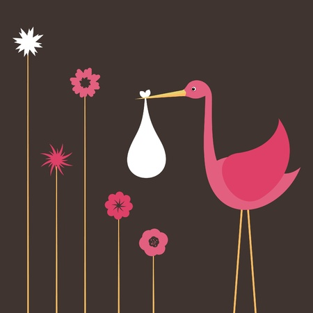 new born baby girl: The pink stork bears the child illustration