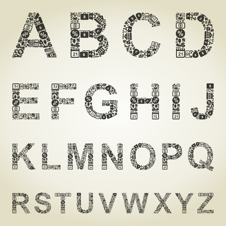 The alphabet from business of subjects. A illustration Stock Vector - 18876080