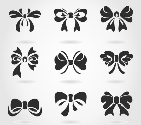 silk ribbon: Set of bows for design. A illustration Illustration