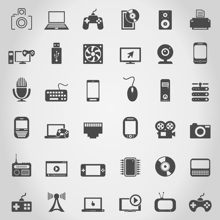 Set of icons of electronics  A illustration Stock Vector - 18876060