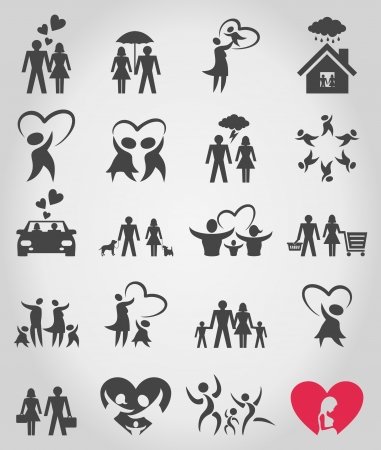 fertilisation: Collection of icons on a family theme  A illustration