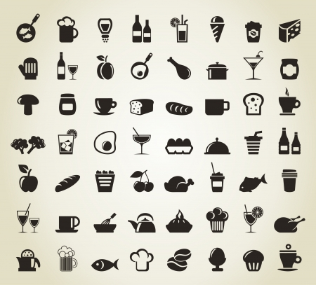 whisky bottle: Set of icons on a theme food  A illustration