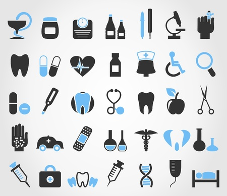 Set of icons on a theme medicine  A illustration Vector