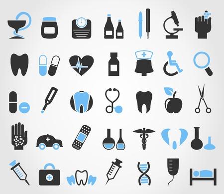 bandaging: Set of icons on a theme medicine  A illustration Illustration