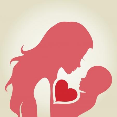 utero: La donna ama il bambino Un'illustrazione Vettoriali