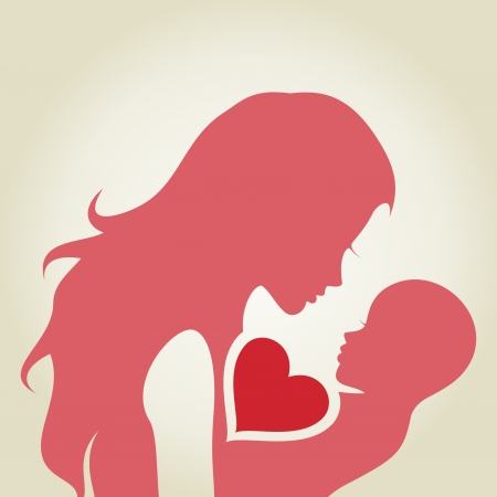 loves: The woman loves the child  A illustration