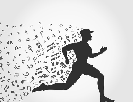The person runs with notes  A illustration Stock Vector - 18876053