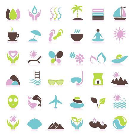 leaf water drop: Set of icons on a theme spa  A illustration