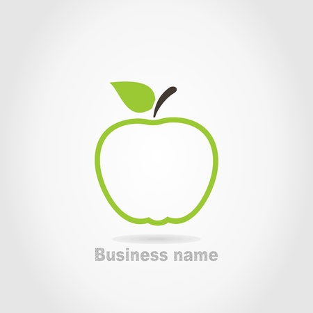 apple isolated: Green apple on a grey background  Illustration