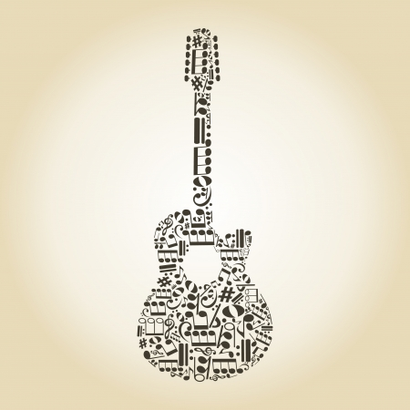 Guitar made of notes   Vector