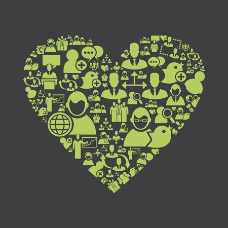 Heart made of the user  Vector