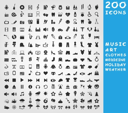 sign set: Collection of icons for design. A  illustration
