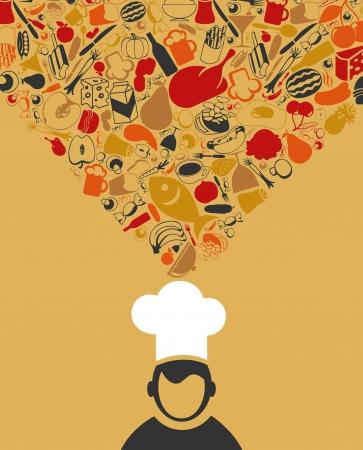 pane e vino: Il cuoco pensa cibo Un'illustrazione Vettoriali