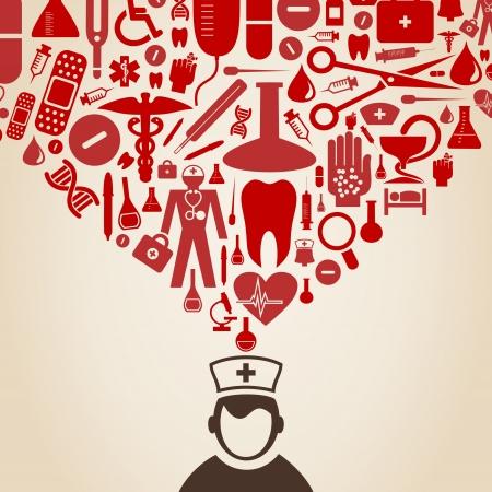 bandaging: The doctor thinks of medicine  A  illustration