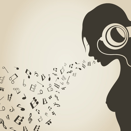 religious music: The girl sings the musical note  A vector illustration Illustration