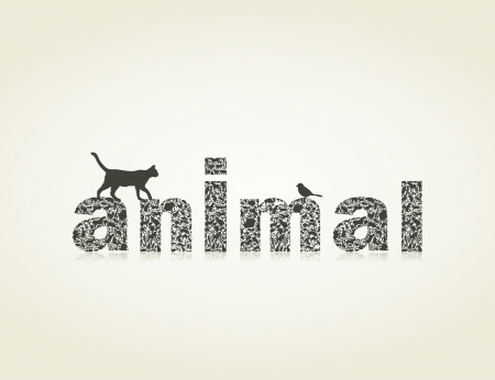 Inscription an animal made of animals.  Vector