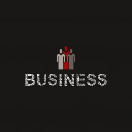 Sign on three businessmen.   Vector
