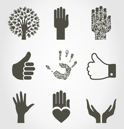 Set of icons of hands.   Vector