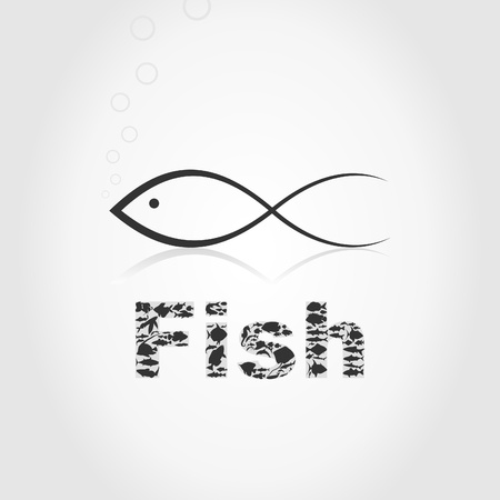 The image an icon fish.  Vector