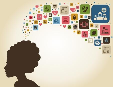 thinks: The woman thinks of communication.  Illustration