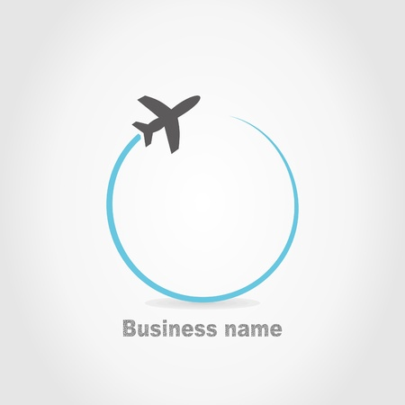 транспорт: Самолет летит на сером фоне. Иллюстрация