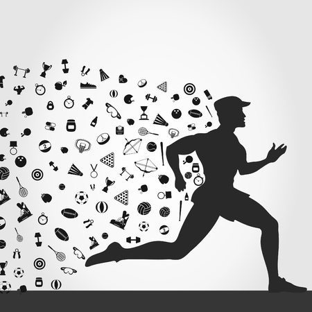fitness ball: For the runner sports subjects. A  illustration