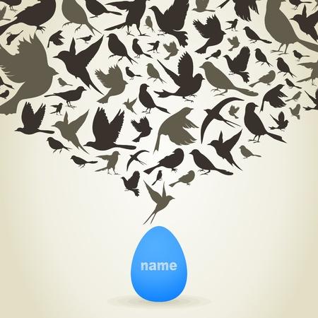 twitter: The bird is born from egg. A vector illustration Illustration