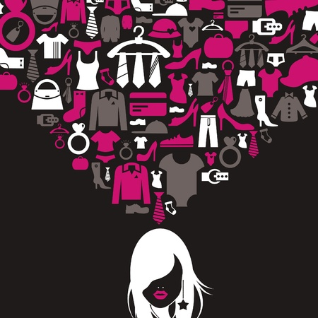 The girl thinks of clothes. A vector illustration Vector