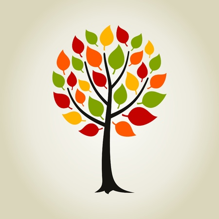 roundish: Tree with a roundish crone. A vector illustration Illustration