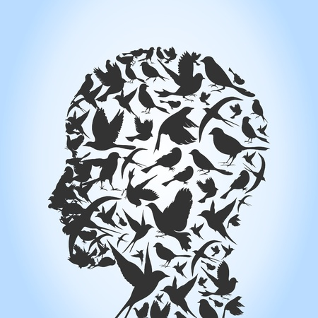 Head of the person from birds. A vector illustration Vector