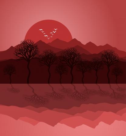 Sunset on mountain lake. A vector illustration Vector