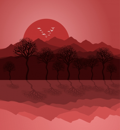 headwaters: Sunset on mountain lake. A vector illustration