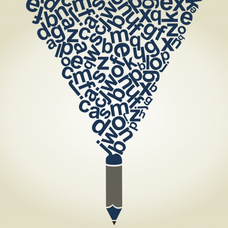 The pencil writes letters. A vector illustration Stock Vector - 21306046
