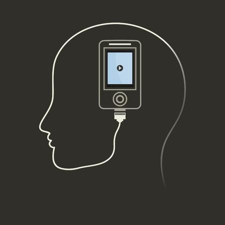 head phone: Para un tel�fono principal es presionado. Una ilustraci�n vectorial