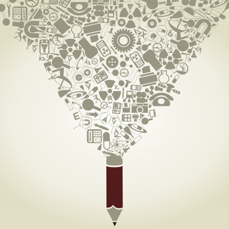 The pencil writes a science. A vector illustration Stock Vector - 21306051