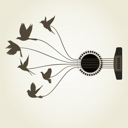 guitarra acustica: Los pájaros vuelan de cuerdas de la guitarra. Una ilustración vectorial
