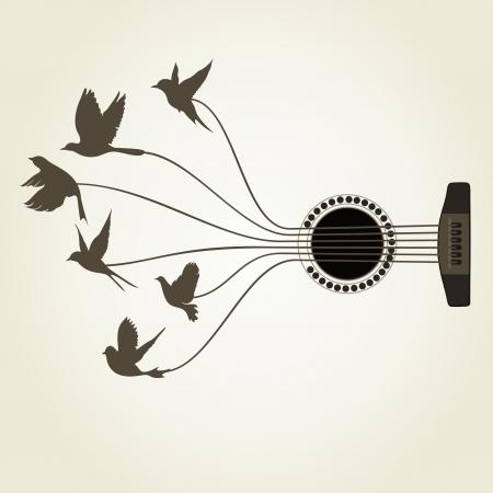 Vogels vliegen van gitaarsnaren. Een vector illustratie