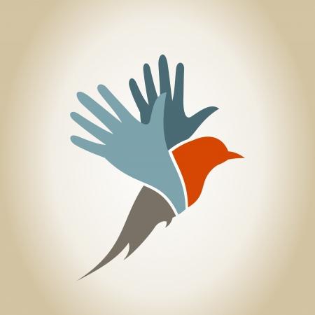 paloma caricatura: Alas de un pájaro en forma de una mano. Una ilustración vectorial