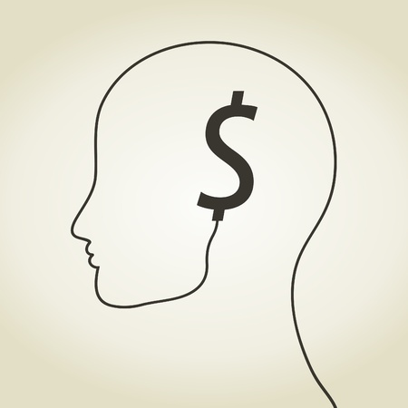Dollar an ear on a head. A vector illustration Stock Vector - 22007774